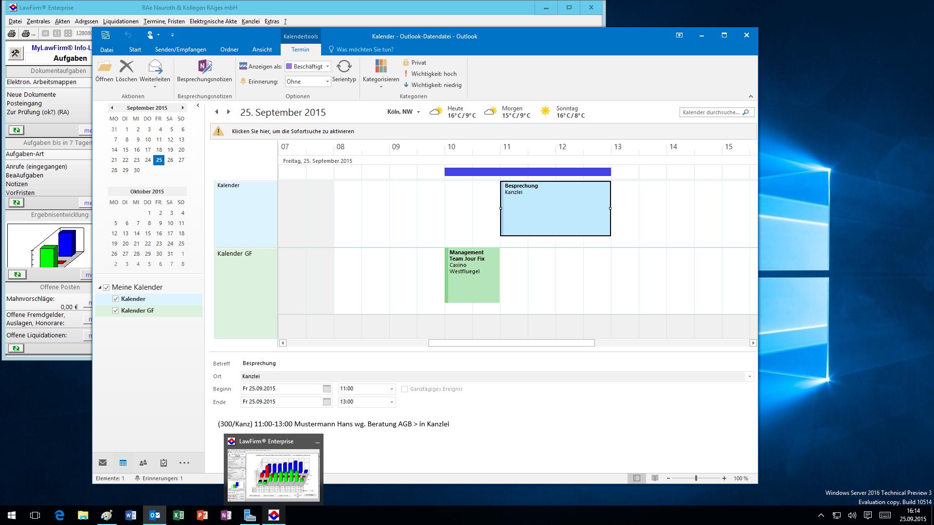 LawFirm® + Outlook 2016: Kalender, Planungsansicht, mehrere Kalender