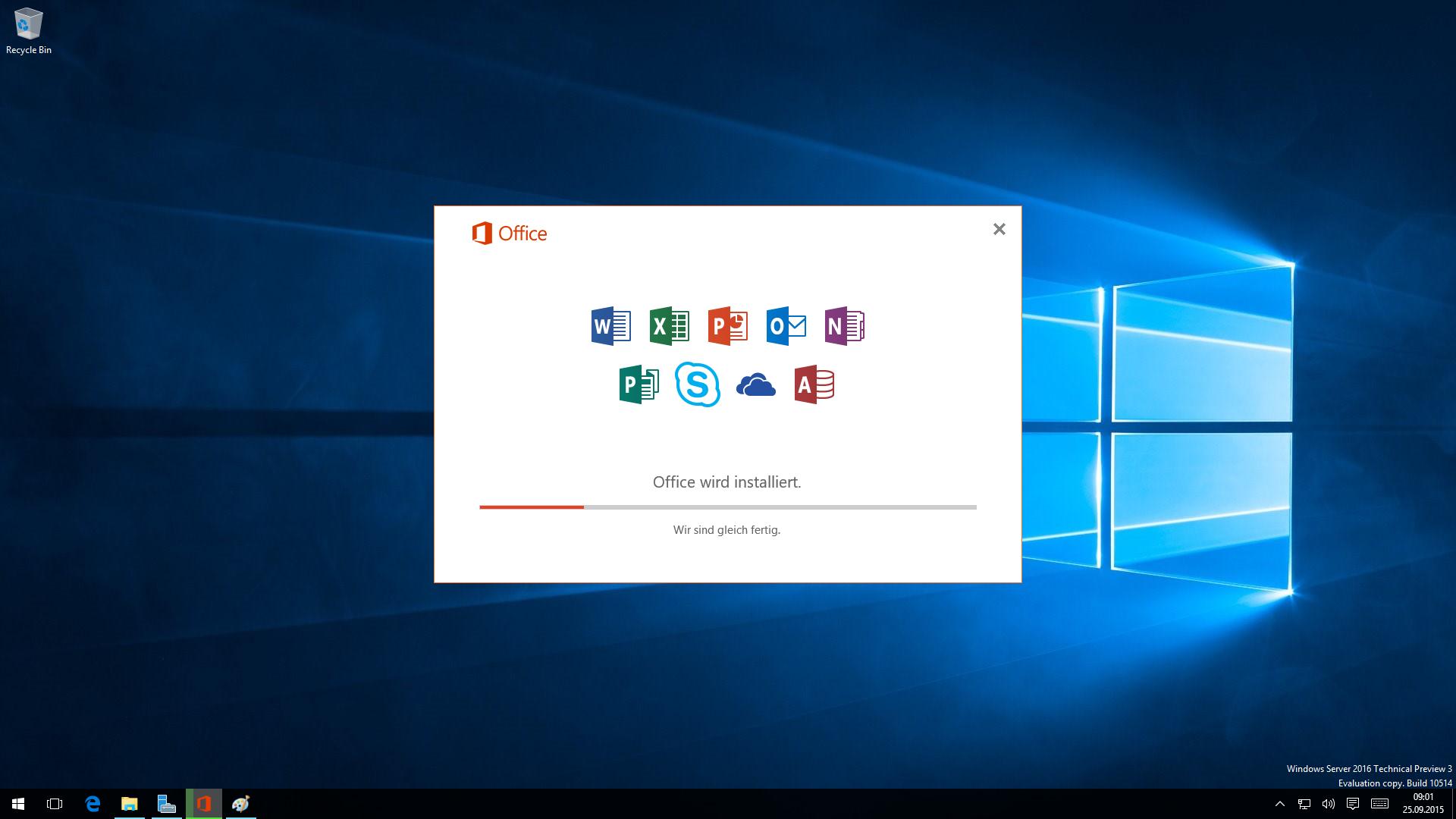 Fortschritts-Anzeige bei der Installation von Office 2016 mit den neuen Office 2016 Icons