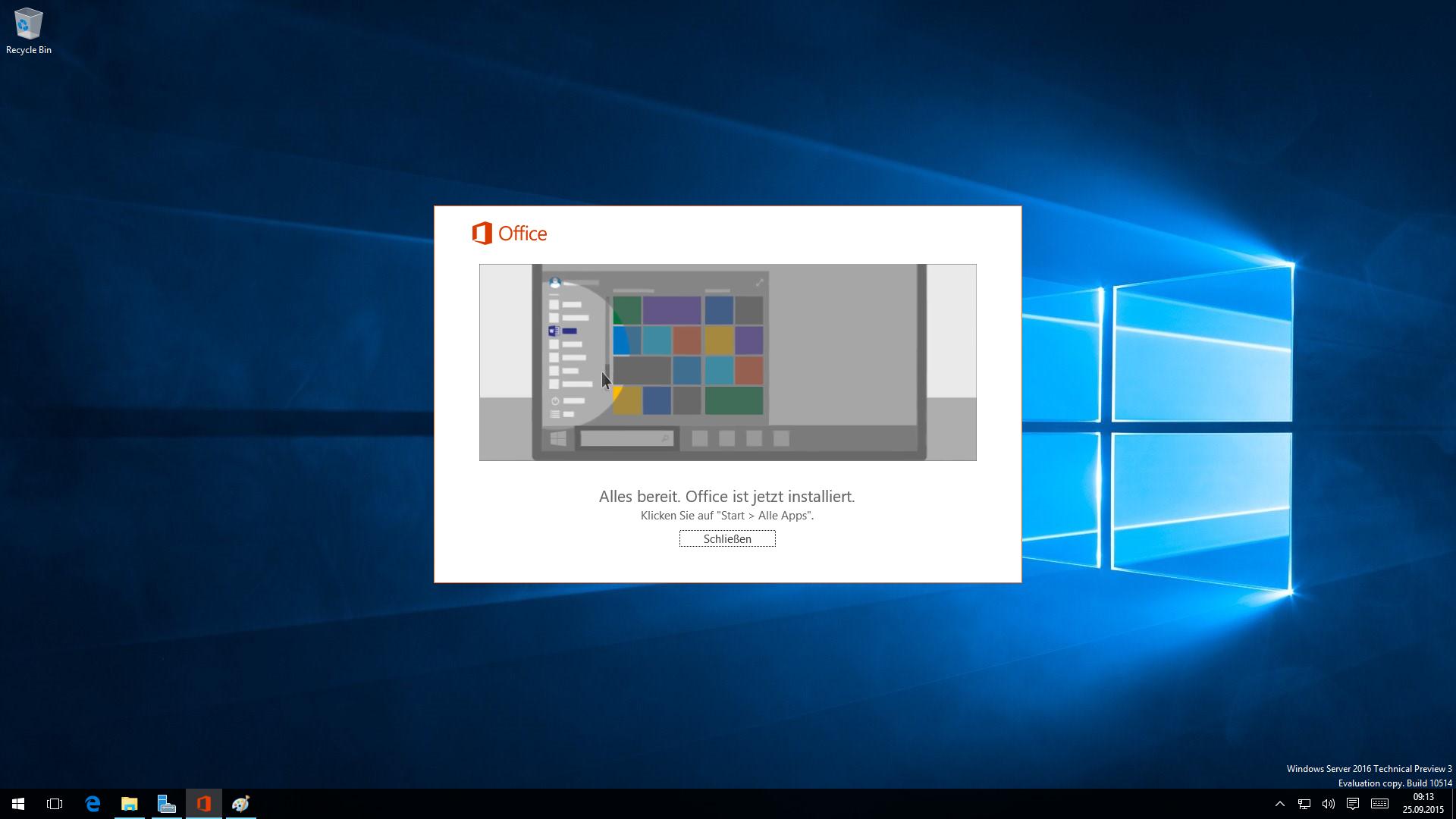 Das Abschluss-Fenster der Installation von Office 2016 mit animiertem Hinweis zum Aufruf bzw. zur weiteren Nutzung