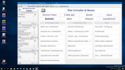 LawFirm® Menü-Hauptübersicht mit Standard-Zoom (90% des Bildschirminhalts)