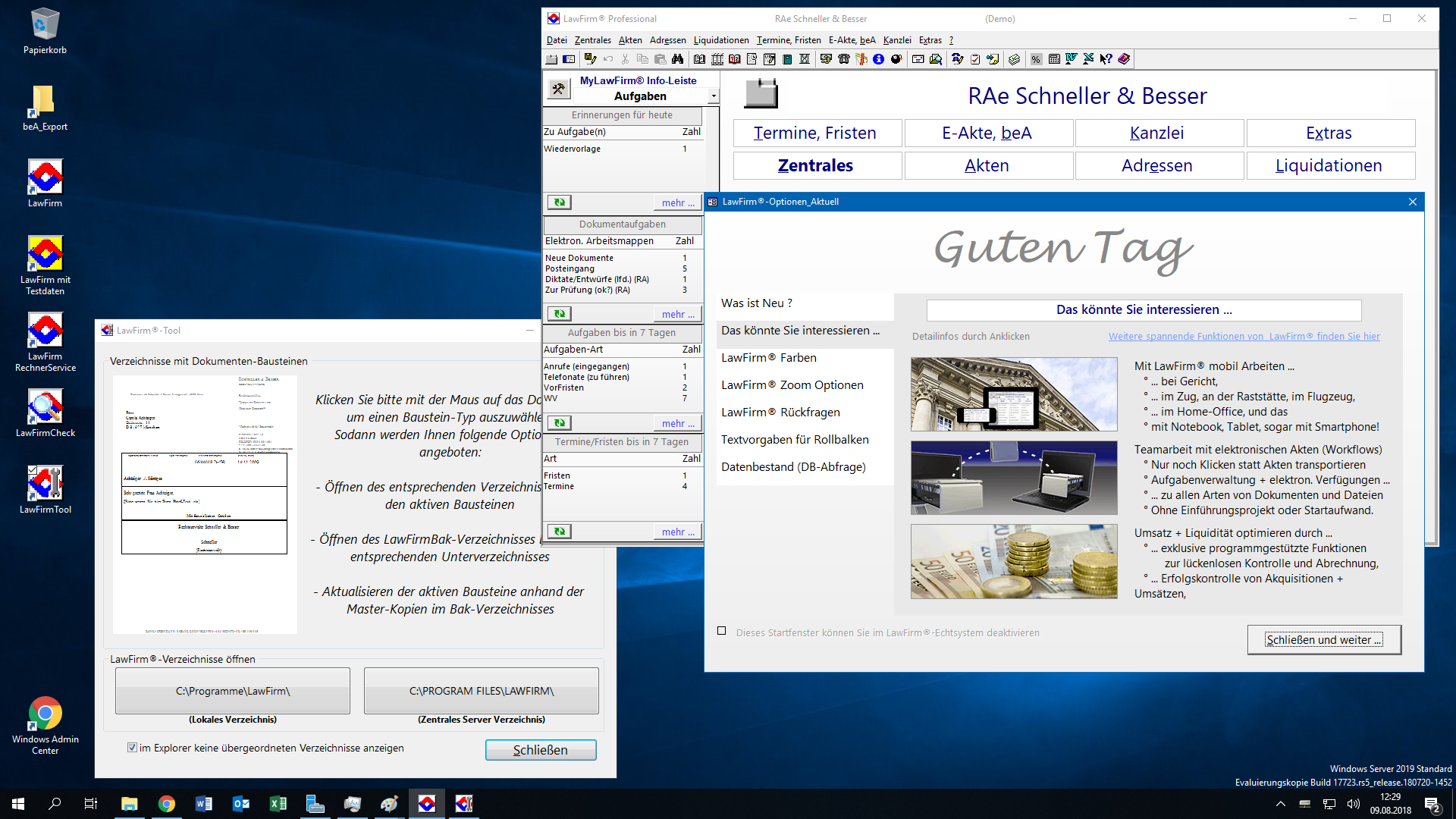 Windows® Server 2019 Desktop-Oberfläche mit LawFirm® und LawFirm® Tool