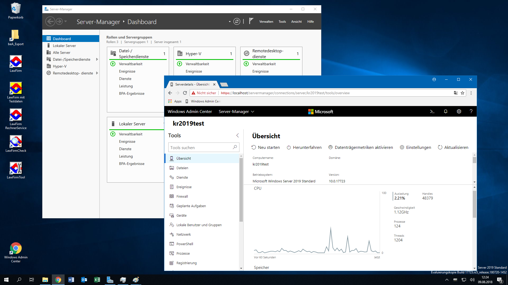 Windows® Server 2019 Desktop mit neuem Windows Admin Center + LawFirm® Symbolen