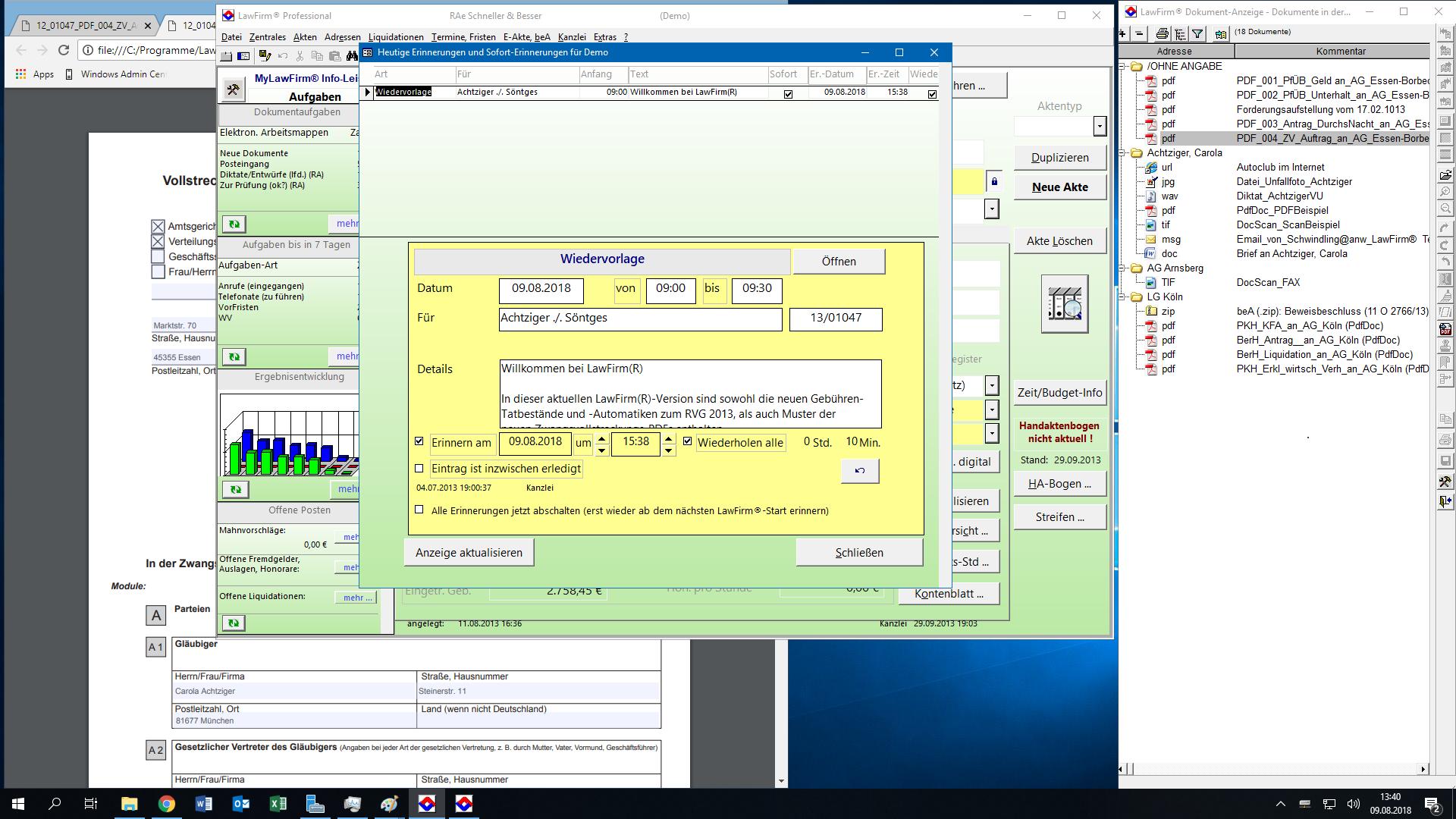 LawFirm® Technik-Test mit der Erinnerungsfunktion + Dokumentenviewer mit Vollstreckungsauftrag