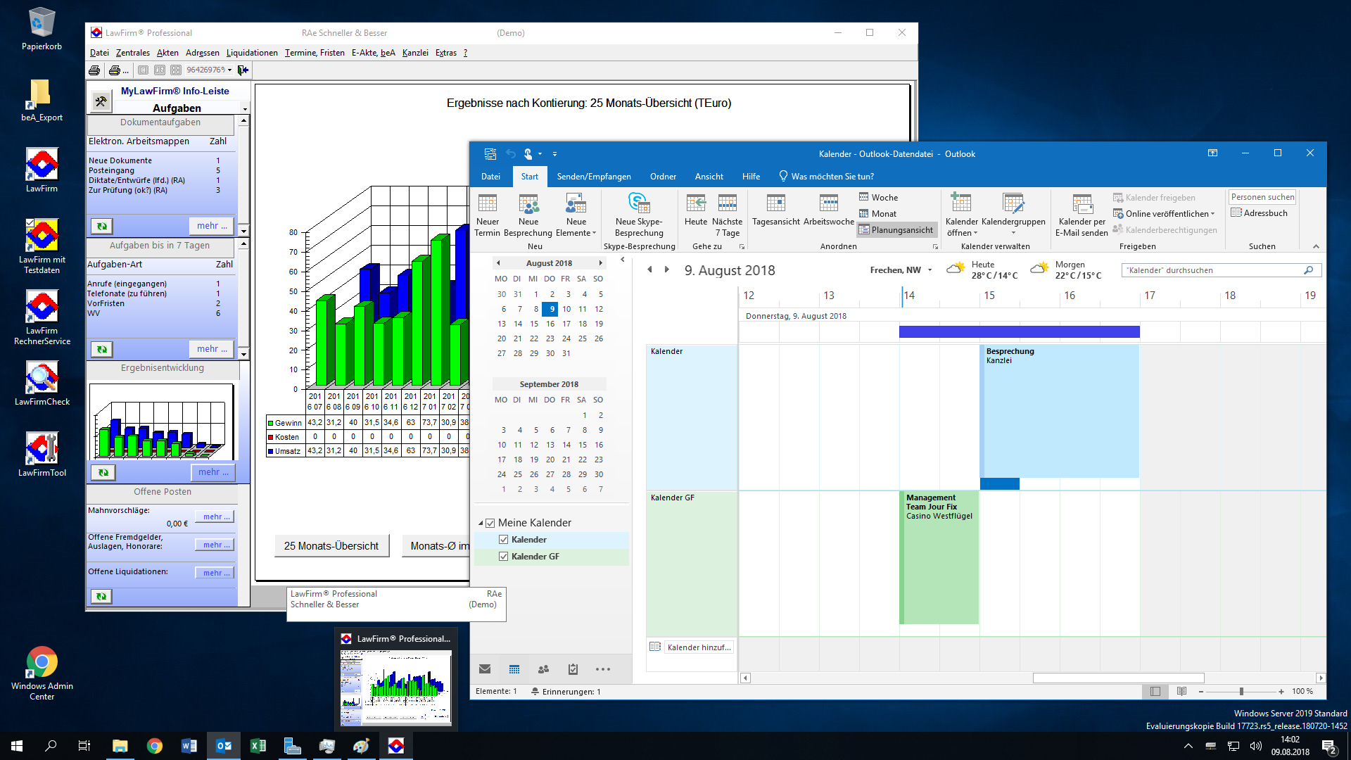 LawFirm® + Outlook 2019: Kalender unter Windows Server 2019, Planungsansicht, mehrere Kalender