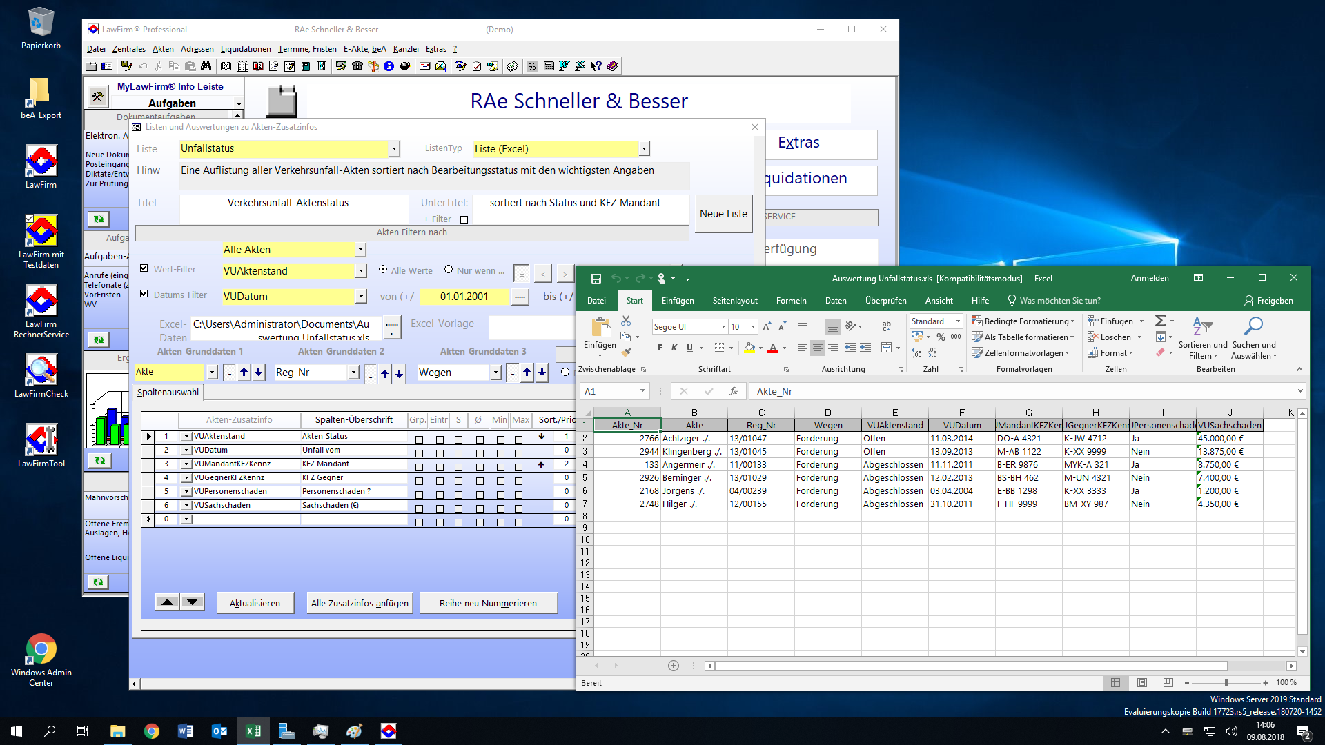 LawFirm® + Excel 2016 Integration unter Windows Server 2019 - Export von Statistiken und Auswertunge9