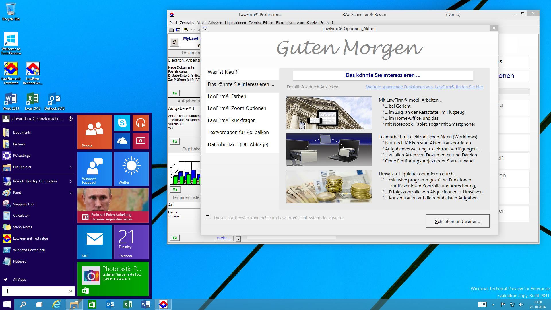Windows® 10 Desktop-Oberfläche mit Startmenü und neuem LawFirm® Start-Fenster