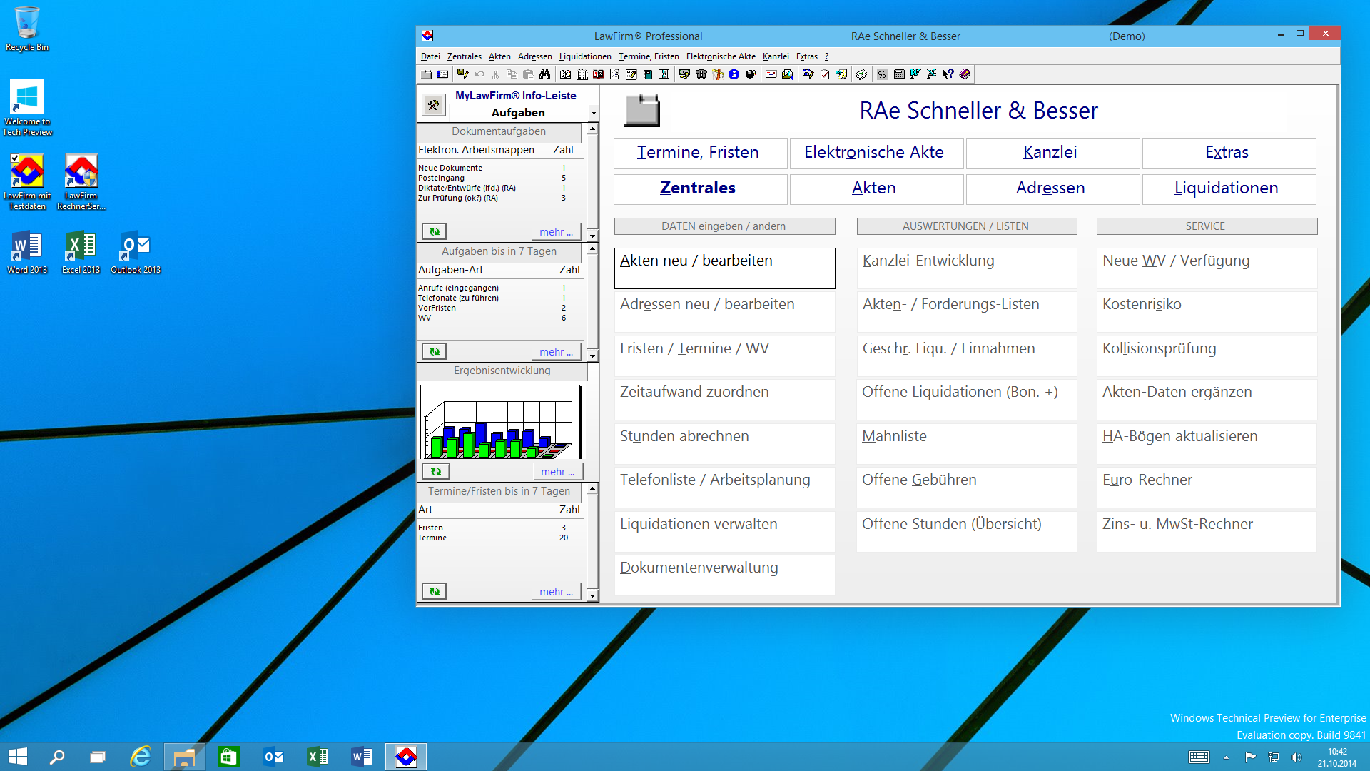 Windows® 10 Desktop-Oberfläche mit neuer LawFirm® Menü-Übersicht