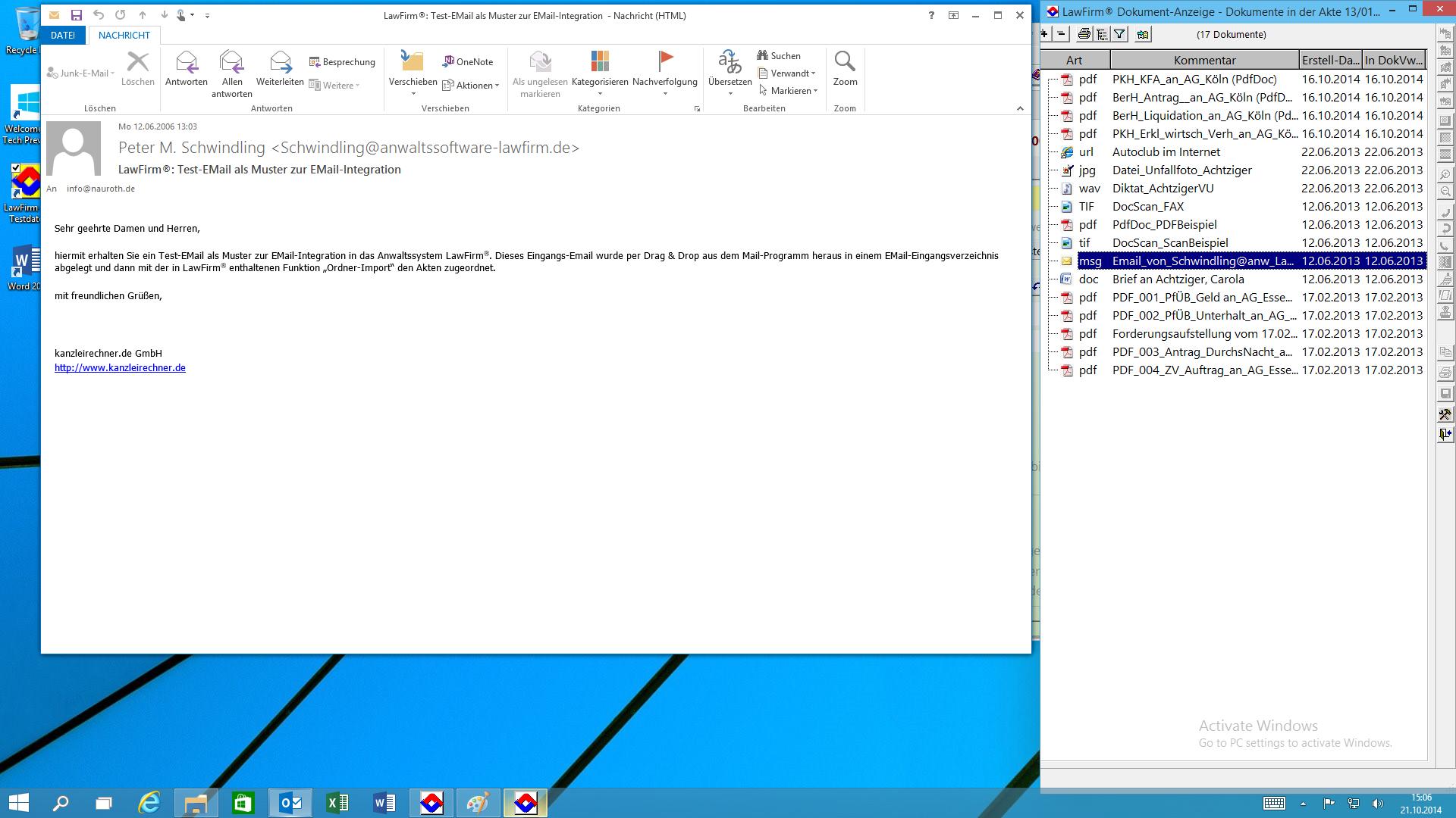 LawFirm® - Dokumentenviewer mit geöffneter E-Mail in Outlook 2013