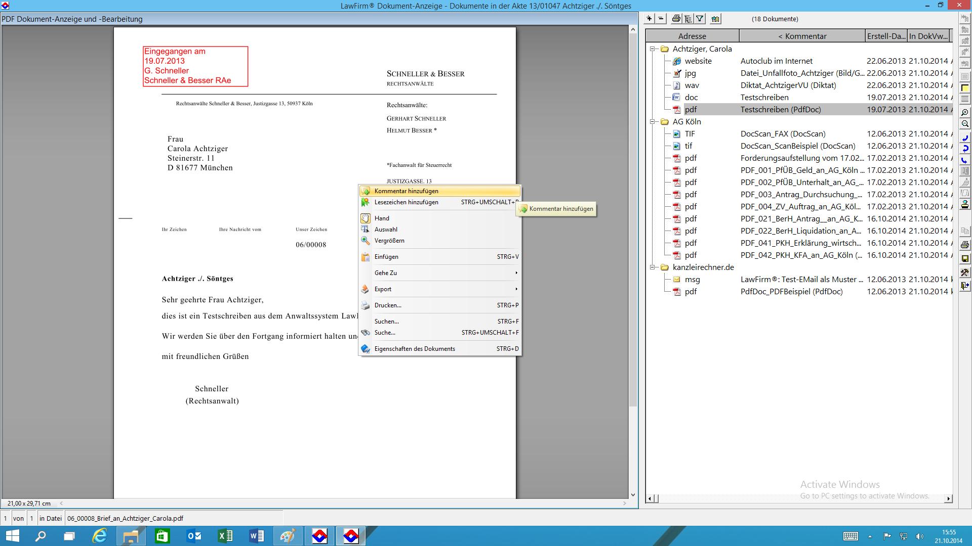 LawFirm® - Dokumentenviewer mit dynamischer Ordner-Struktur und neuen Bearbeitungsfunktionen (Posteingangs-Stempel, etc.)