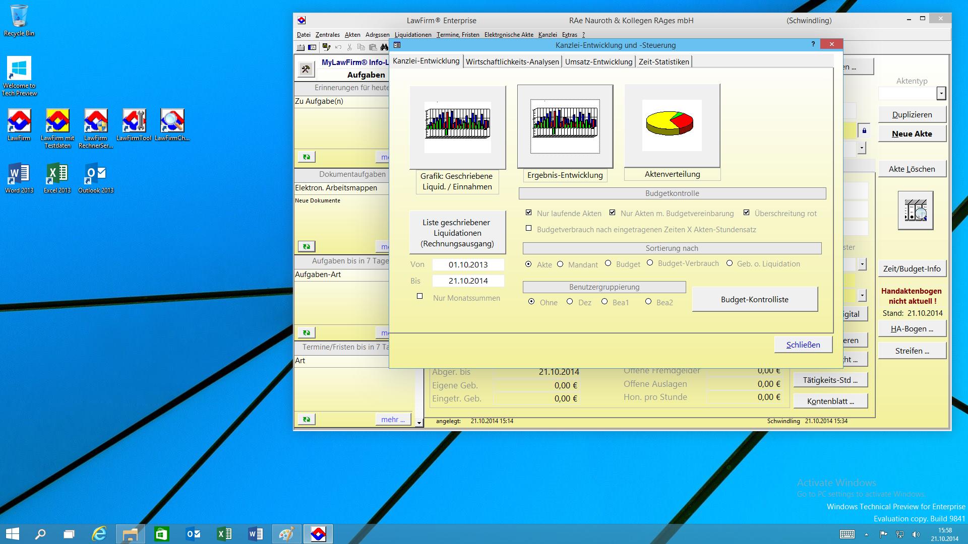 """LawFirm® Fenster """"Kanzlei-Entwicklung"""" (Wirtschaftlichkeitsanalysen, Umsatz-Statistiken), individuelle 3D Farben"""