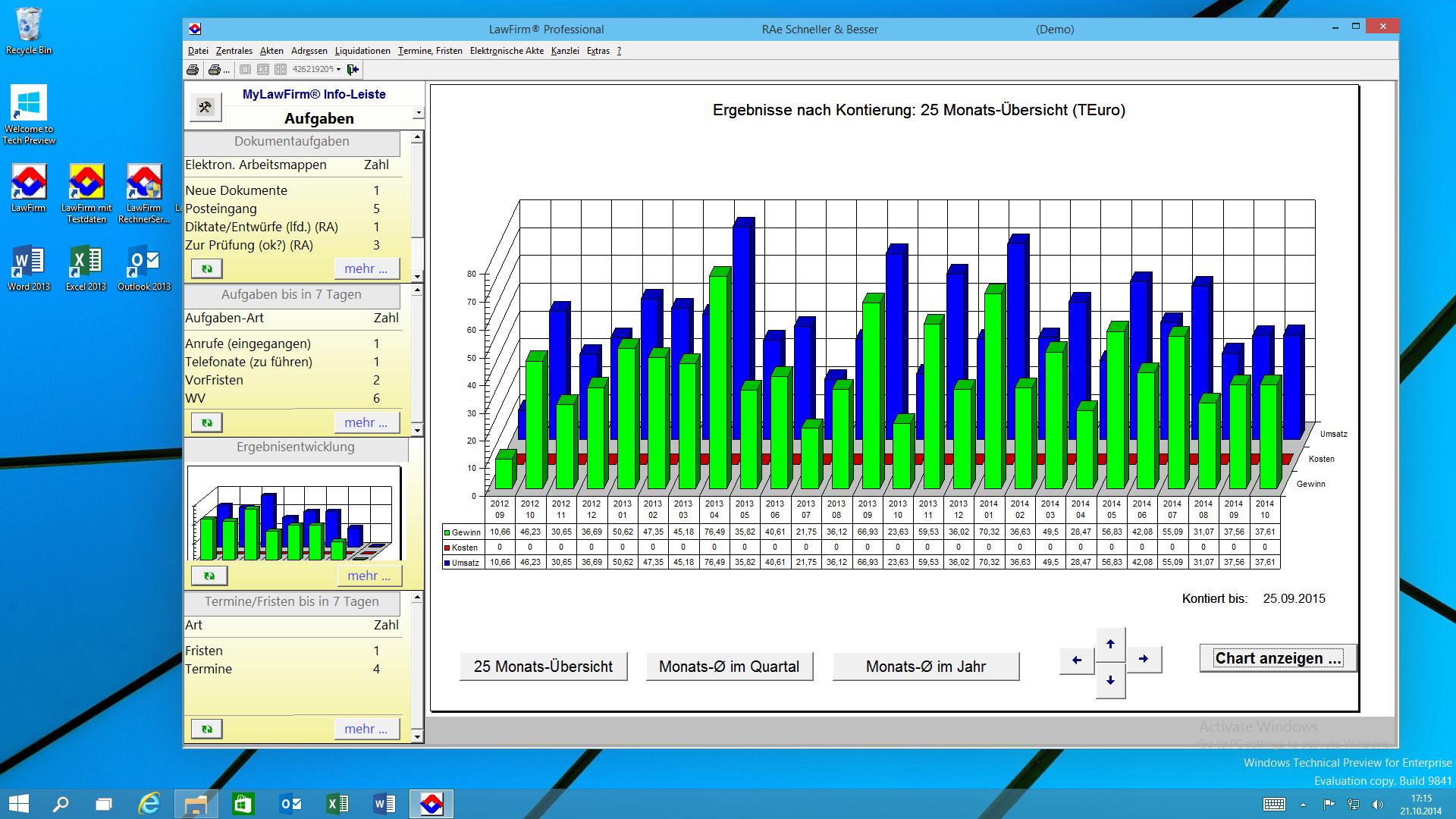 """LawFirm® Fenster """"Ergebnis-Entwicklung"""" (betriebswirtschaftliche Auswertung und Steuerung) + Standard-Zoom: 90%"""